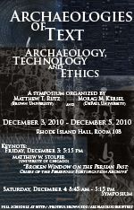 Archaeologies of Text Keynote Address: Matthew W. Stolper (Chicago) -