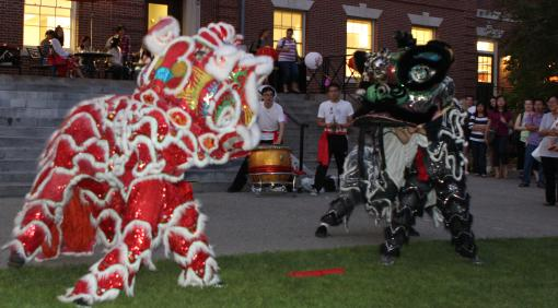 Brown Lion Dance performed on the steps of the  Stephen Robert '62 Campus Center
