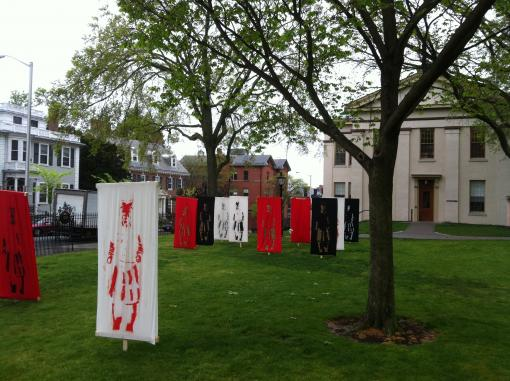 Archaeology students erected life-size prints of terracotta warriors on Brown's Main Green.