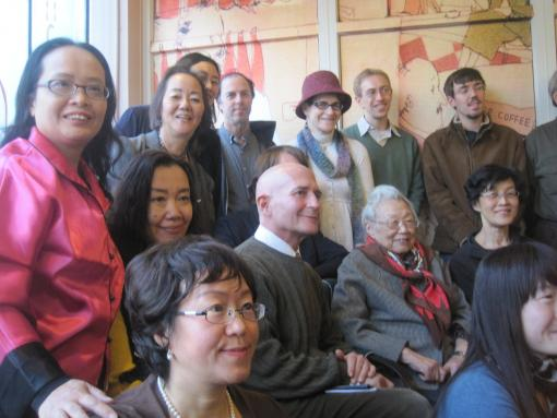 A 2011 alumni event in Beijing included an interview with the poet Zheng Min A.M. '52