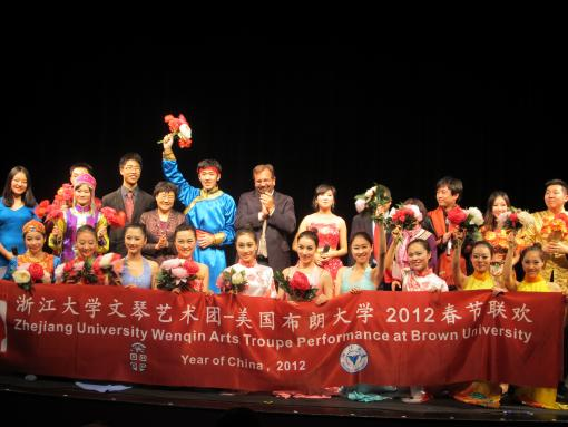 The Zhejiang University Wenqin Arts Troupe with Matt Gutmann, Vice President for International Affairs at Brown.