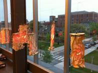 Students installed hundreds of lanterns at the Granoff Center for a one night exhibit