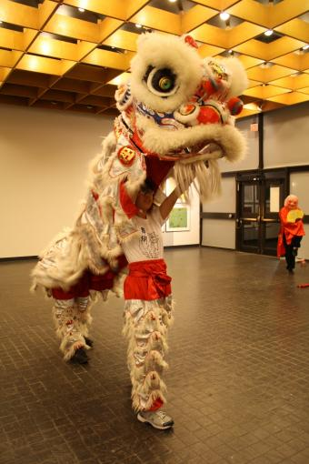 The Brown Lion Dance team performed at the exhibit reception