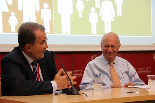 Former Italian PM Romano Prodi joined former Chilean President Ricardo Lagos for the lecture.