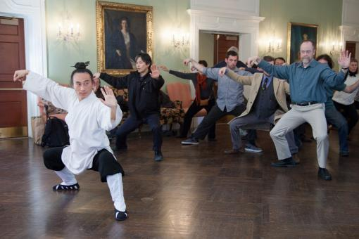 Taoist Priest Zhou Xuan Yun teaches Taiji Quan to members of the Brown community.