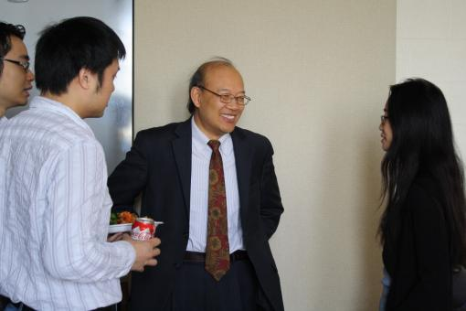Prior to his lecture, Provost Wang met with graduate students and professors at a Physics Department lunch.