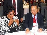 President Ruth J. Simmons and Year of China Director, Chung-I Tan taste tea made by the delegation