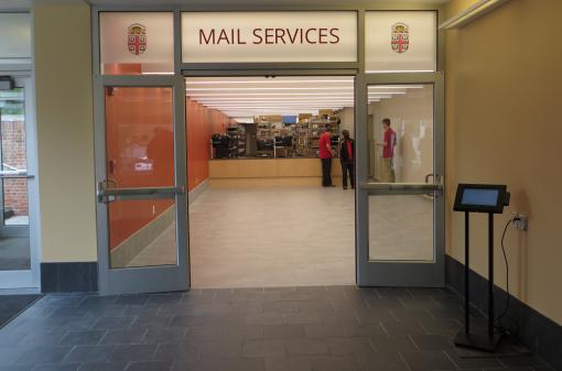 Renovations over the summer bring big changes to Mail Services.  All student mail and package pick up is now in one location.  Simply swipe your Brown ID at the Kiosk and proceed to the counter.