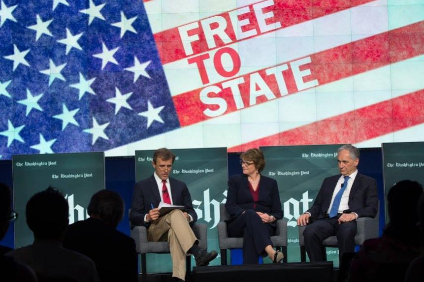 Washington Post higher education reporter Nick Anderson moderates a conversation about freedom of expression on university campuses, with Brown President Christina Paxson and University of Chicago President Robert Zimmer