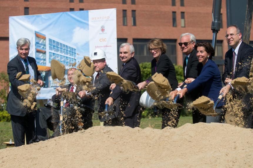 President Paxson with state officials at groundbreaking