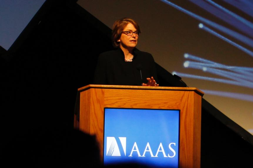 President Paxson speaking at AAAS