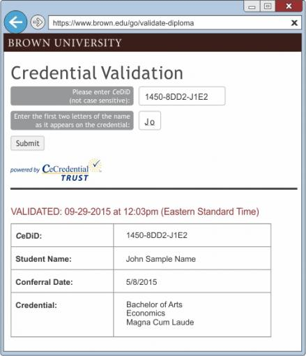 Brown CeCredential Validation