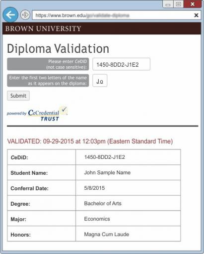 Brown CeDiploma Validation