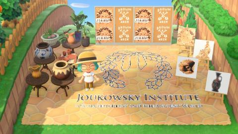 Animal Crossing yard with JIAAW logo floor tiles and display of JIAAW artifact pictures, logos, and character in JIAAW shirt