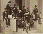 Jenks's taxidermy class on the West stairs of Rhode Island Hall