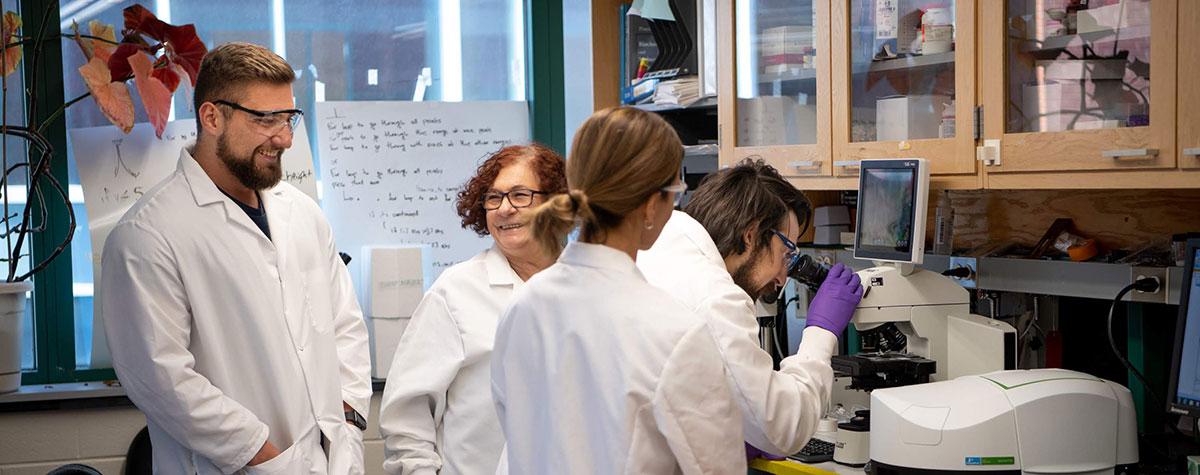 Graduate students and faculty mentor in lab