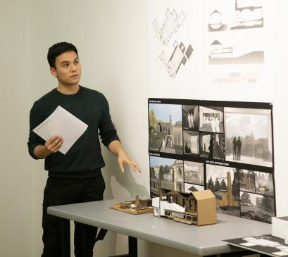 Student with architectural model
