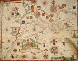 Nautical chart of the ancient Mediterranean Sea