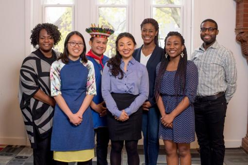 From left to right: Dr. Shontay Delalue, Hugo Lucitante, Aisha Zamor, Victoria Huynh, Christine Lim, Makedah Hughes, Warren Harding