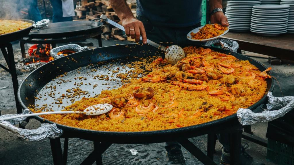 Paella, the traditional Spanish cuisine.
