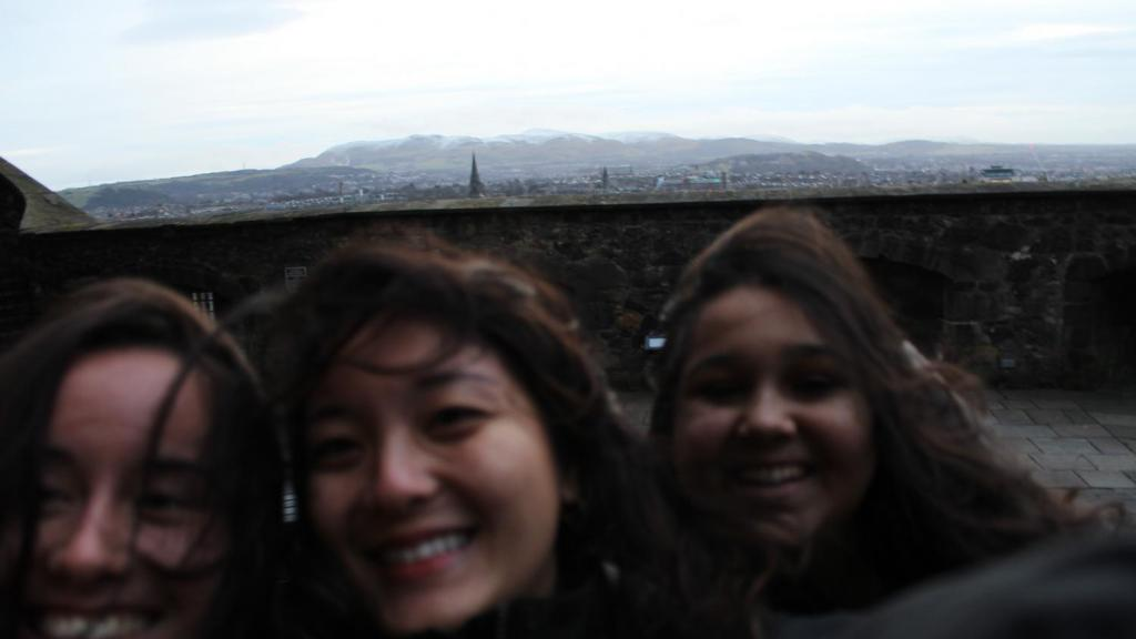 Students standing at the top of Edinburgh Castle