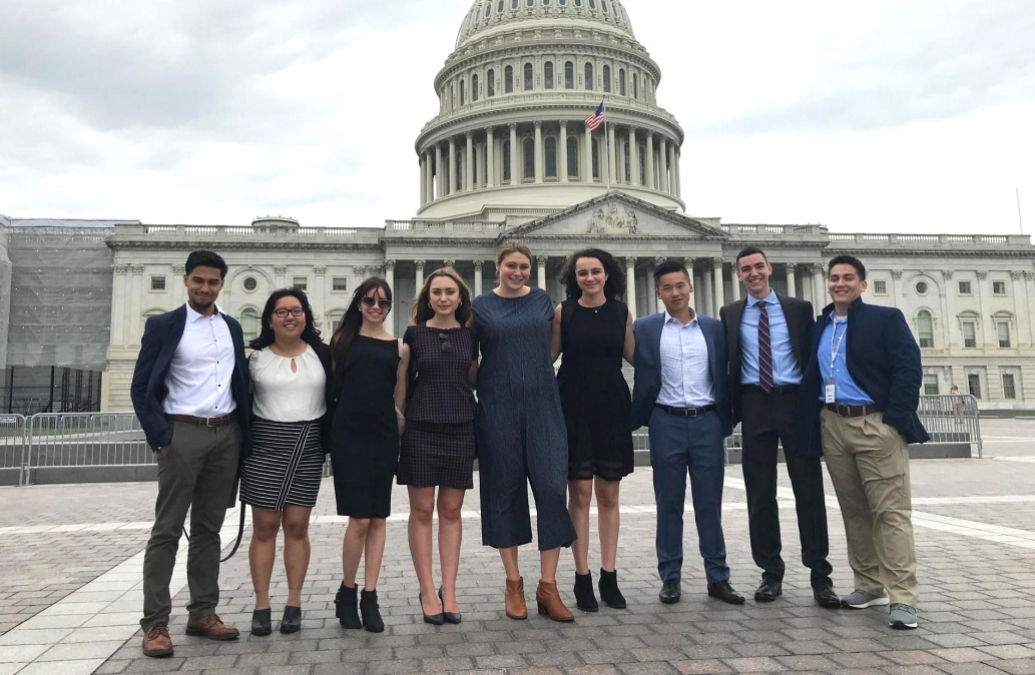 The sixth Brown in Washington cohort standing in front of the Capitol Building in D.C.