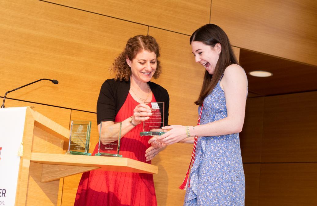 Anna Fireman '19 receives the Swearer Center Leadership Award