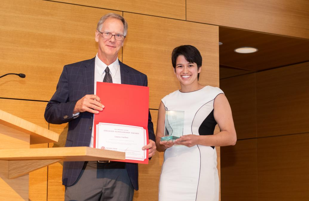 Laura Garbes receives the Engaged Scholarship Award (Graduate)