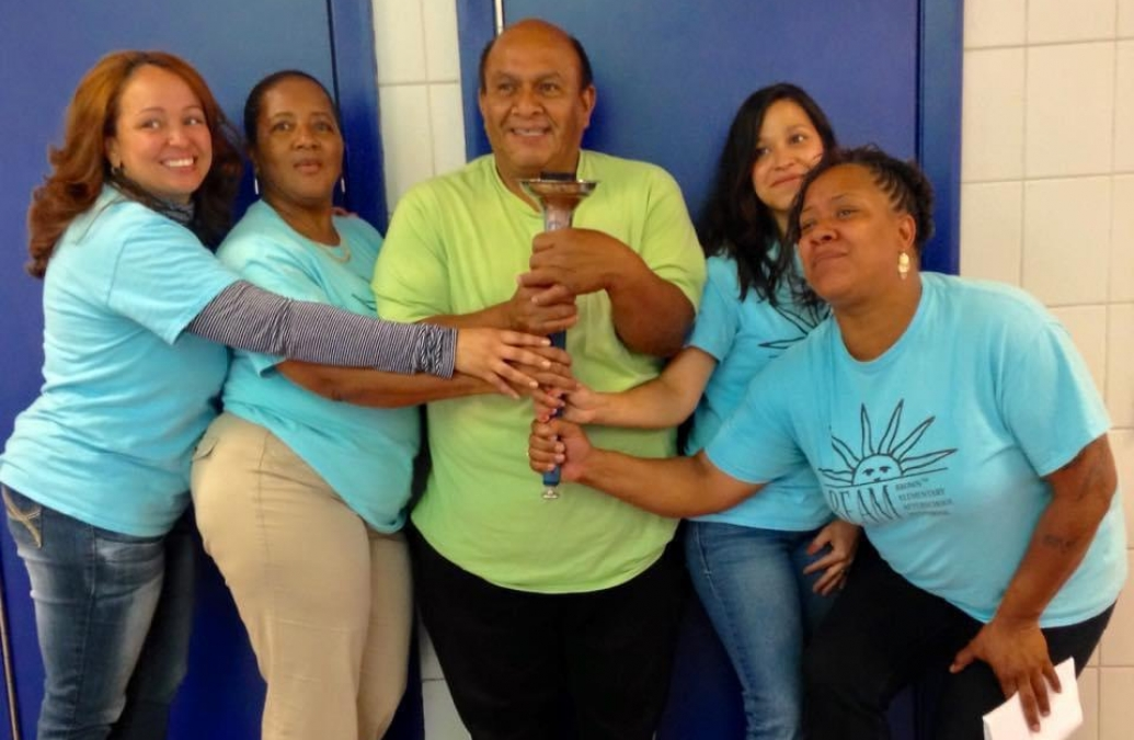 Abelardo Hernández with colleagues at D'Abate Elementary