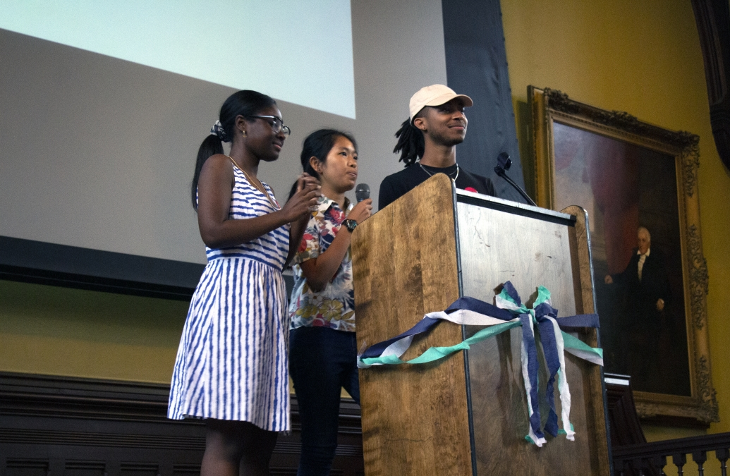 Morgan Brinker '21, Madavin Vong '21, and Tafari Williams '20 addressing students and their families at the Bonner Welcome Dinner