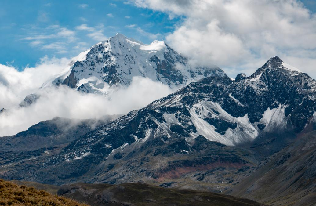 Huayna Potosí mountain in the Andes range in Bolivia