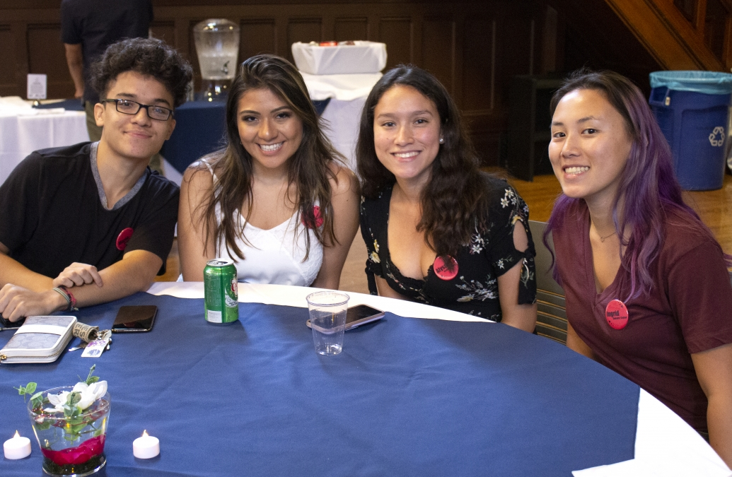 Four students at the Bonner Welcome Dinner