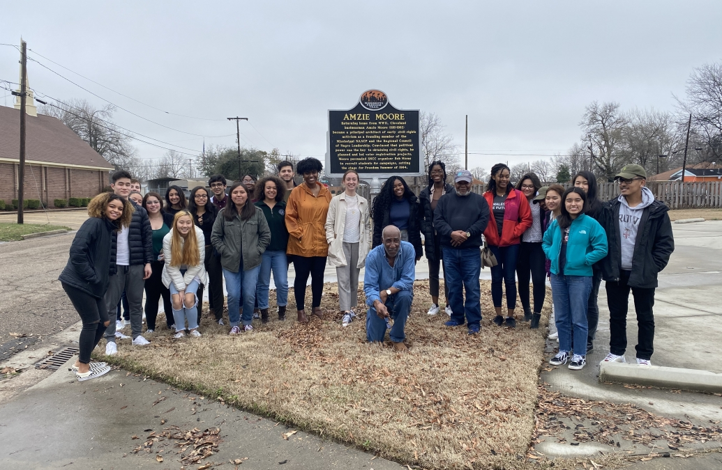 Students at the Amzie Moore House Museum