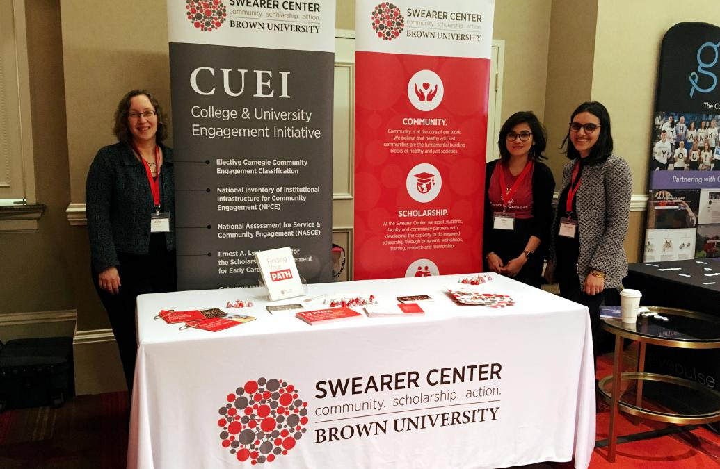 The Swearer Center team covering the stand at the Eastern Region Campus Compact: 2019 Biennial Conference