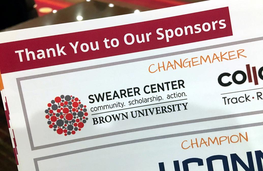The Swearer Center appears on marketing materials as a sponsor of the Eastern Region Campus Compact: 2019 Biennial Conference