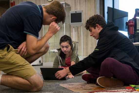 Students studying together in the Computer Science department