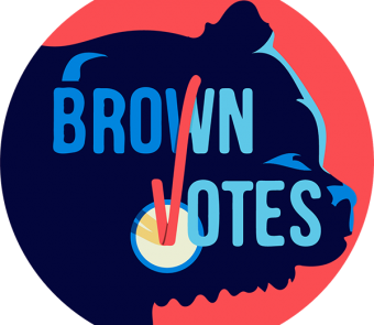 Brown Votes Logo, a blue bear with text Brown Votes!
