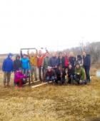 Students in GEOL 0240 taking sediment cores: