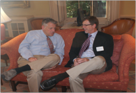 William Osborn '81 chats with Tim Herbert during the reception