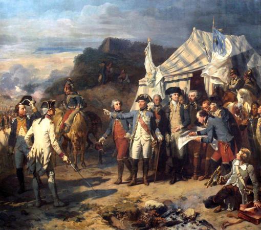 Siege of Yorktown: Rochambeau and Washington giving their last orders before the battle. (Le Siège de Yorktown en octobre 1781,  Louis-Charles-Auguste Couder, c.1836.)  Galerie des Batailles, Château de Versailles, France