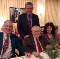 Dr. Ridgely, center, with his three children, Bob, Pete (standing), and Ginny.