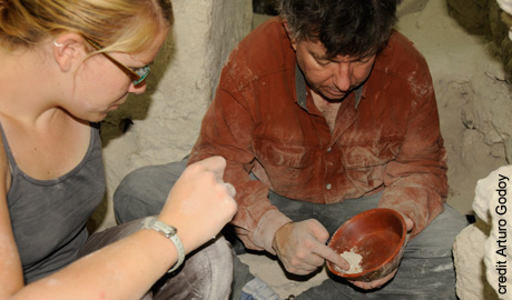 Professor Stephen Houston and graduate student Sarah Newman work at an ancient Mayan king's tomb beneath the El Diablo pyramid in El Zotz, Guatemala. Photo by Arturo Godoy