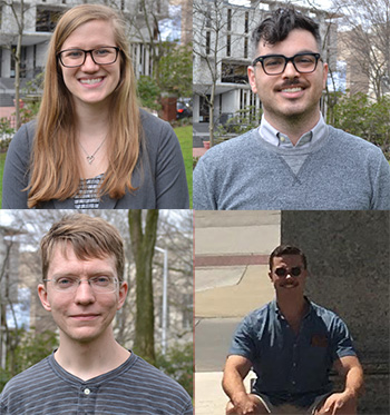 2018 Recipients (counterclockwise starting top left): Sarah Kaptur, Ian Russell, Jonathan Lande, and Justin Pombrio.