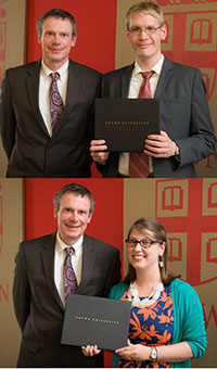 Jonathan Sozek and Andrea Flores with Dean Peter Weber at the University Awards ceremony in May 2015.
