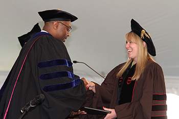 Sarah Newman, Anthropology, receives one of four Outstanding Dissertation Awards, sponsored by the Joukowsky Family Foundation, at the May 2015 Commencement.