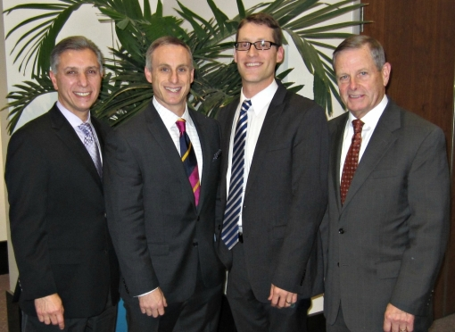 Faculty, Division of Spine Surgery: From left, Drs. Palumbo, Eberson, Daniels, and Lucas.