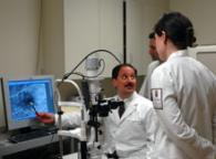 Dr. Salvatore J. Loporchio reviews a fluorescein angiogram with residents at the VA Eye Clinic.