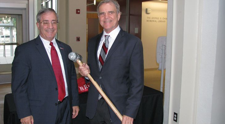 Dean of Biology and Medicine Jack A. Elias with Professor of Medicine Edward Win