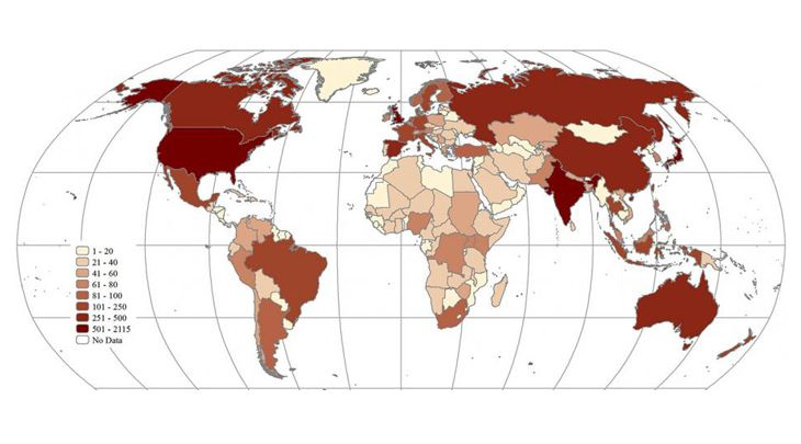 global map plots cumulative outbreaks of human infectious disease since 1980.