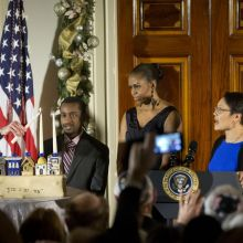 Barack and Michelle Obama, Dr. Adam Levine at the White House Hannukkah event